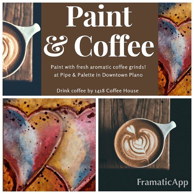 Paint with coffee & drink @1418coffee on January 26 at 11am ☕️ No skills needed! Come paint with fresh aromatic coffee grinds and acrylic paint 🎨 We have the talented @beinyour_art teaching this lovely double heart inspired Valentine's Day piece. Click link in bio 👆🏻to book your seats (class is also on Feb 9 at 11am). We can't wait to paint & sip coffee with you! . . . #coffee #coffeeholic #butfirstcoffee #cheers #paintandsip #gno #saturdayvibes #saturday #drink #downtownplano #planomagazine #planotx #loveplano