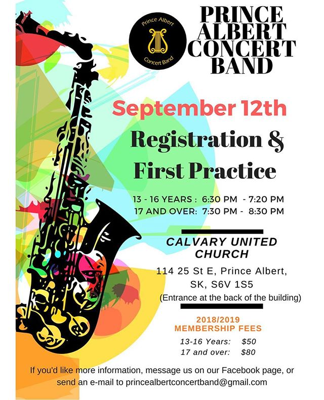 Make sure you come out tonight for registration! We'll be happy to see everyone! #PrinceAlbert #Band #BeReady