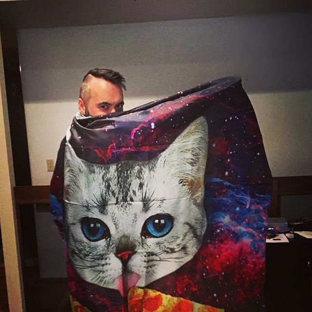 Our shower curtain is better than your shower curtain #pizzacat #spacecat #spacepizzacat