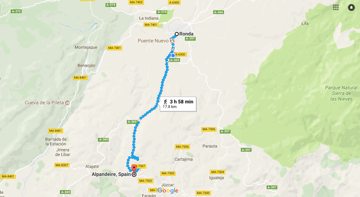 Walk from luxury villa rental in Ronda to Alpandeire