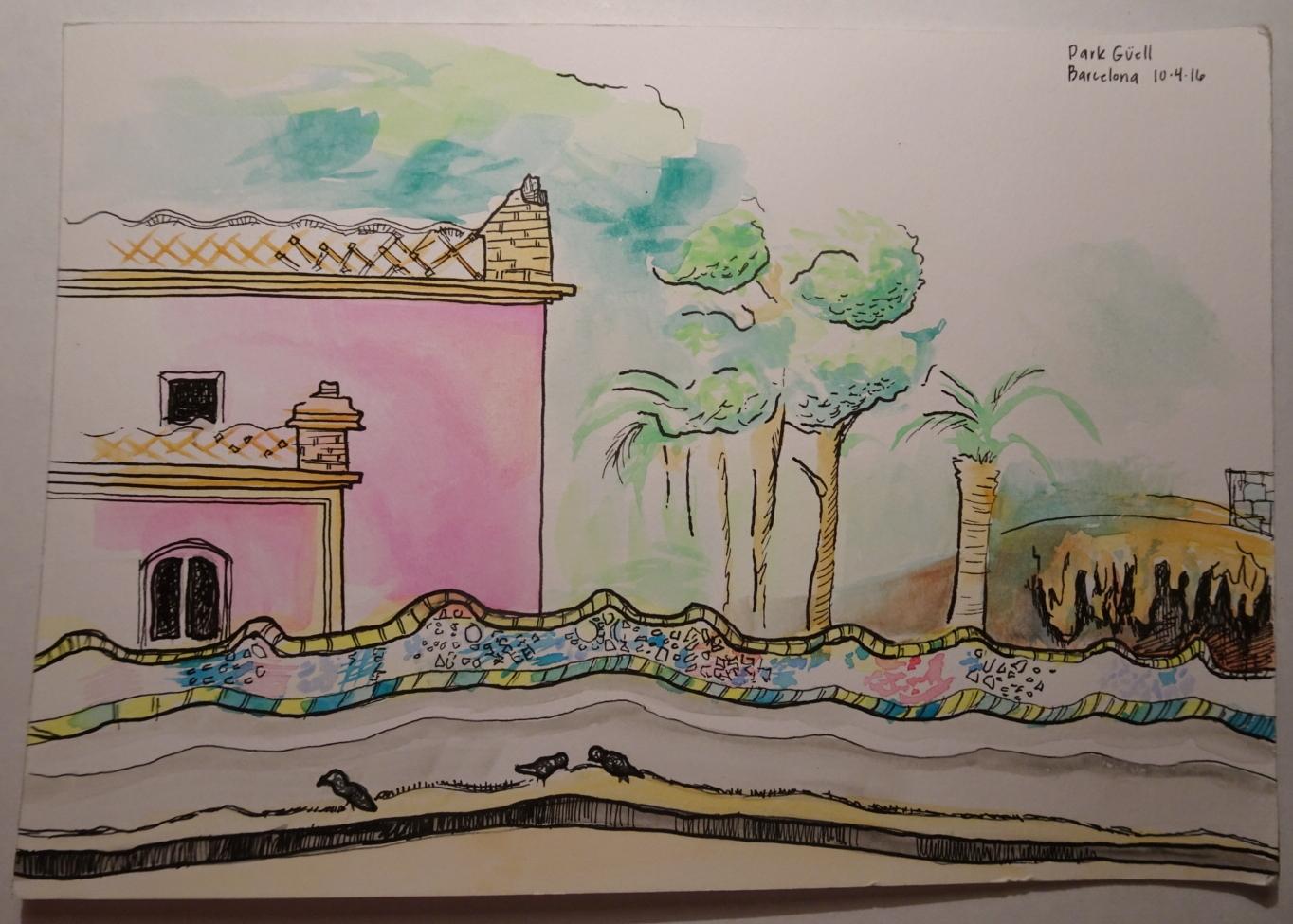Sitting in a Gaudi creation.