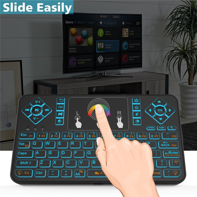 Colorful Backlit Features:  Wonderful mini wireless keyboard with colorful backlit, including red,orange,yellow,green,blue,indigo,violets switch randomly.Backlit function can be used in poor lighting environments, more convenient at night. Backlit on/off: press Fn+Light Key(the key at the bottom right corner). Adjust the color: turn on the backlit, press Fn+FGB,then slide on touchpad select the color. To save electricity, mini keyboard will auto-sleep after 3 minutes without any operating and press any key to wake up mini wireless keyboard.   Specification:  Operating range: 10 meters(MAX), without signal disturbance and no direction limit Measurements(L*W*H): 147*85*16mm Weight(grams): 96g Operational voltage: 3. 7V Operation current: 8~15mA 8~30aM(Turn on Backlit) Charging current: <200mA Battery current: 300nAh