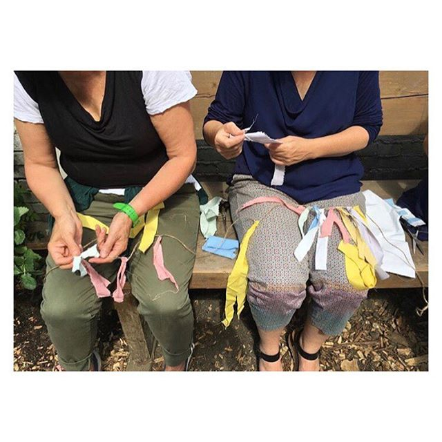 This sunshine is making me think about last summer at the Mansion, making bunting from naturally dyed scraps in the chicken garden with the lovely Park Feast volunteers. . . . . . #artisan #handcrafted #handmade #london #maker #handmadeinlondon #handmadeinengland #organic #naturaldye #handdyed  #craft #makers #quiltsofinstagram #quilting #quilts