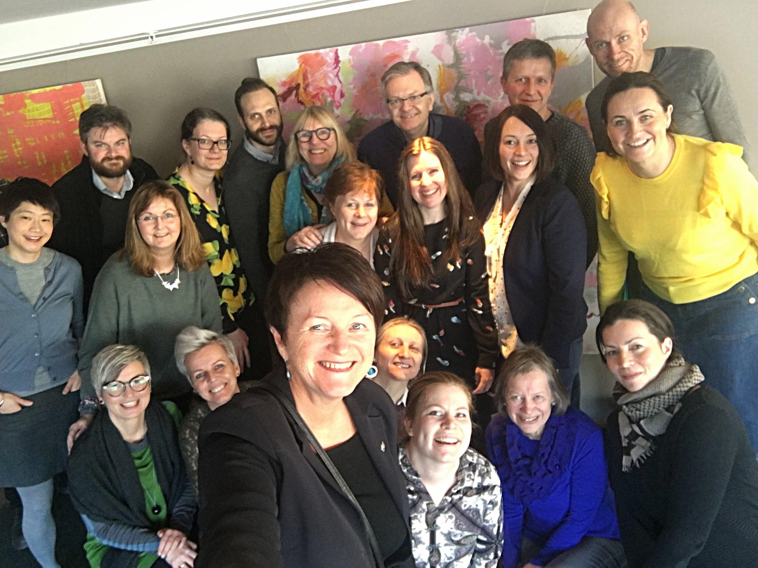 Selfie med representanter fra100%-kommunene i DKS, på to dagers samling i Trondheim.