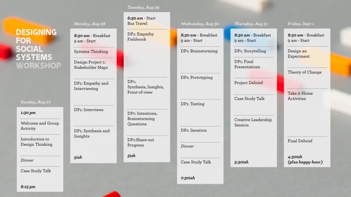 An overview of the workshop's agenda