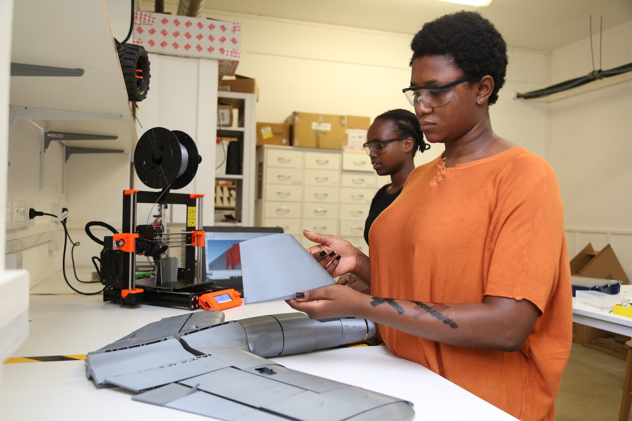 Students at African Leadership University (ALU) in Rwanda and Mauritius declare missions, not majors and wrap their course of study around them. Here, ALU students work on a drone-building project in the Engineering Lab.