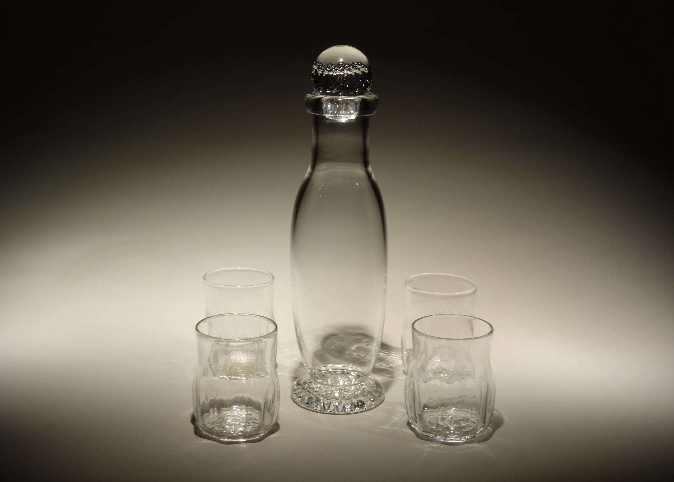 Crystal Decanter with a set of four Crystal Rocks Glasses