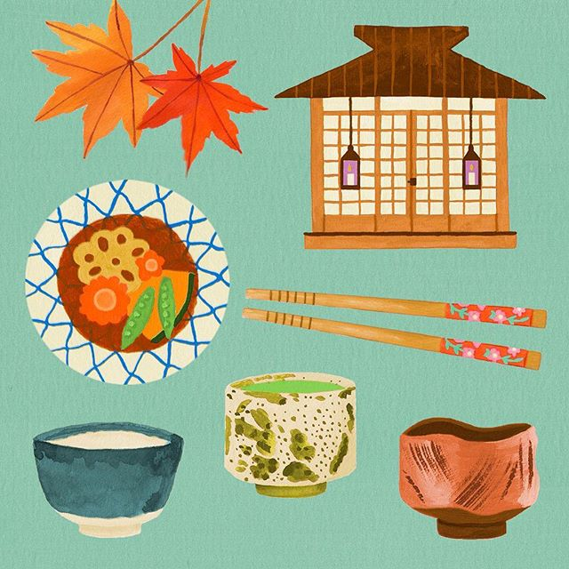 A Japanese tea house, chawan and nimono for this months @makeartthatsells mini.  #illustration #editorialillustration #illustragram #japan #wabisabi #japanesemaple #teaceremony #oishii #matsbootcamp2019 #makeartthatsells #illustration_daily #illustrationartists #gouachepainting