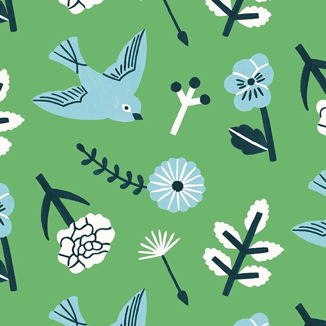 🌼🌿🐦 #illustration #illustragram #printandpattern #patternobserver #patterndesign #botanicalart  #botanicalartist #surfacepattern #surfacepatterndesign #swallow #textiledesign #homedecor #farmhousestyle #countrystyle