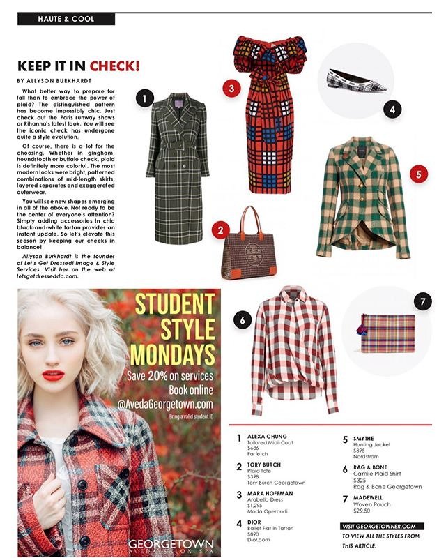 Keep it in Check and check out my latest Haute + Cool column!! https://georgetowner.com/articles/2019/09/19/haute-cool-keep-it-in-check/  #letsgetdresseddc  #letsgetdressed  #thegeorgetowner  #alexachung  #toryburch  #marahoffman  #dior #smythe #ragandbone  #madewell
