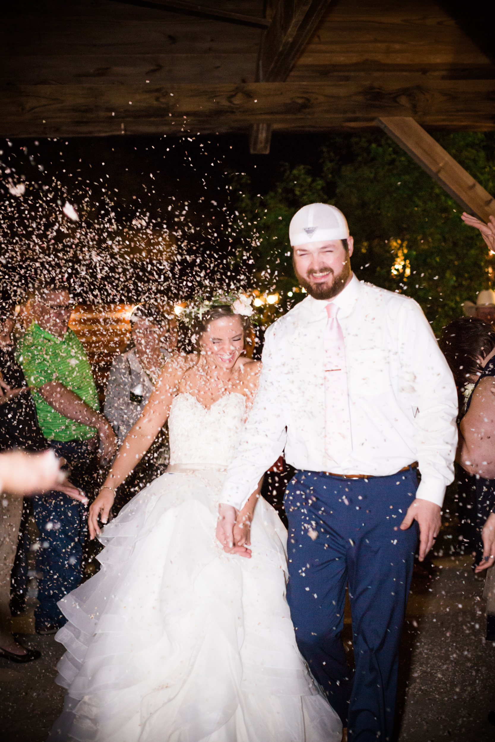 Hill Country Spring Wedding at Red Bud Hall | Austin Wedding Photographer | Film Wedding Photographer | Britni Dean Photography | Rainy Day Wedding Inspiration | confetti wedding exit