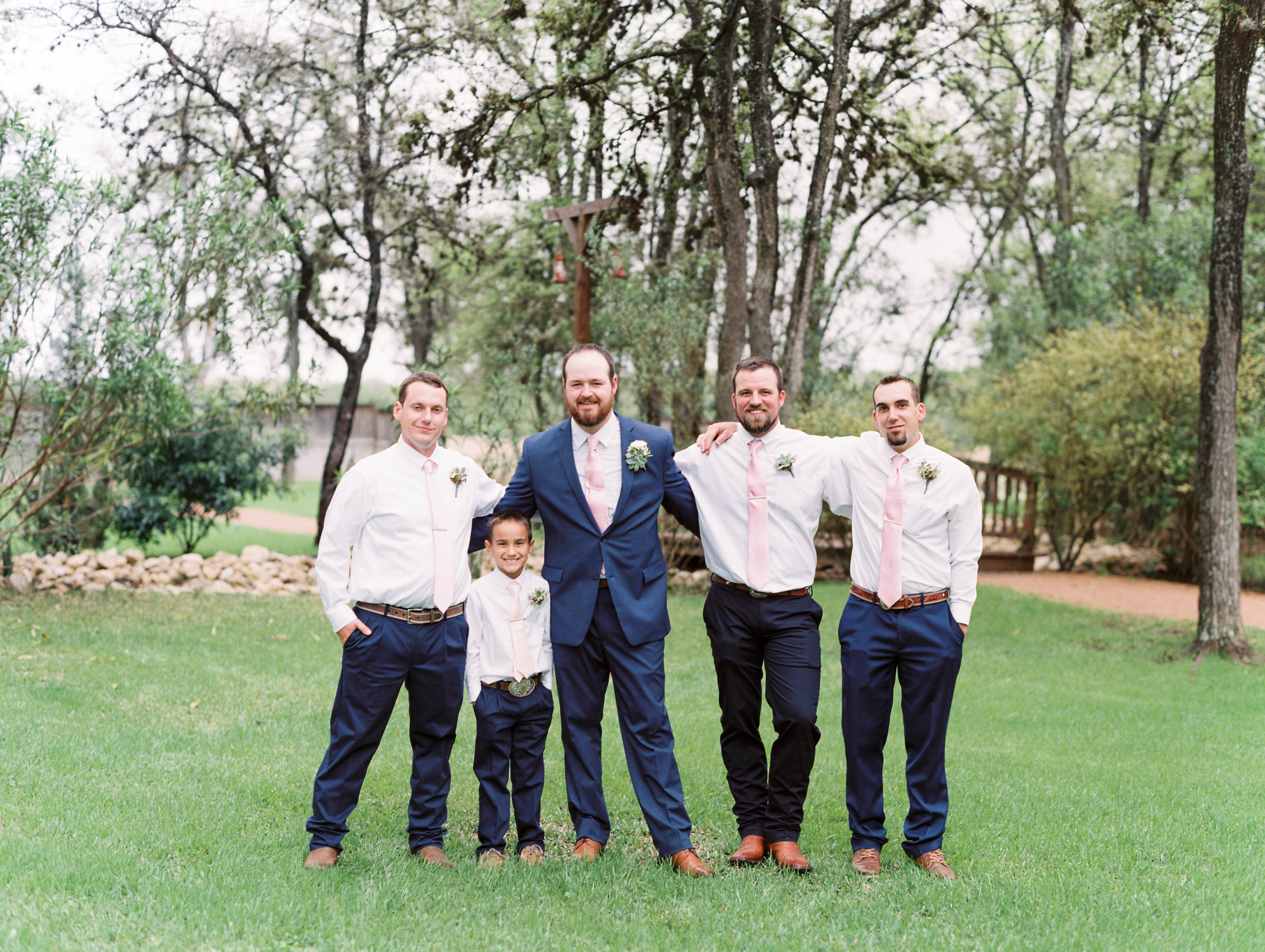 Hill Country Spring Wedding at Red Bud Hall | Austin Wedding Photographer | Film Wedding Photographer | Britni Dean Photography | Rainy Day Wedding Inspiration | navy groomsmen suits