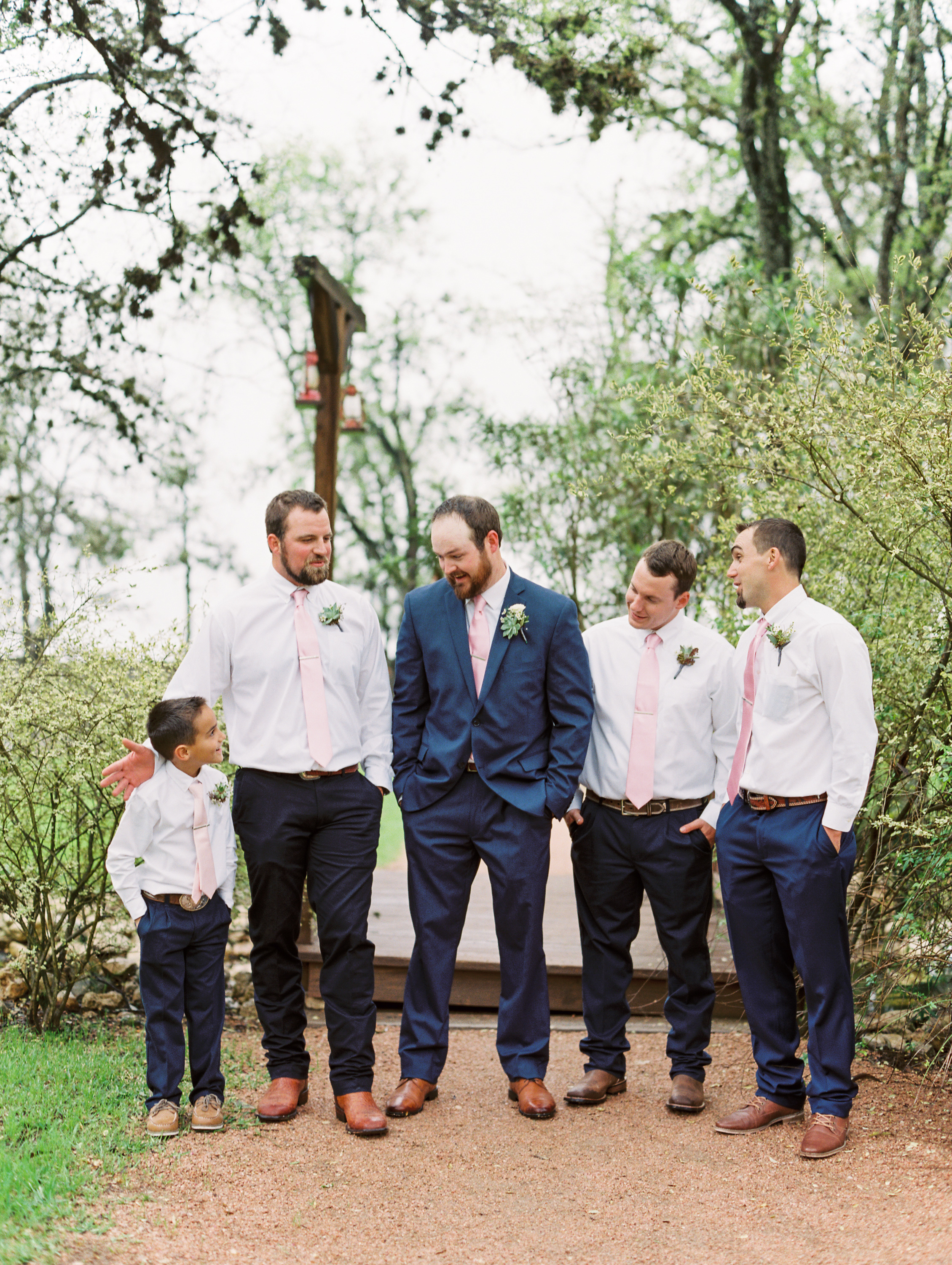 Hill Country Spring Wedding at Red Bud Hall | Austin Wedding Photographer | Film Wedding Photographer | Britni Dean Photography | Rainy Day Wedding Inspiration | navy groomsmen suit