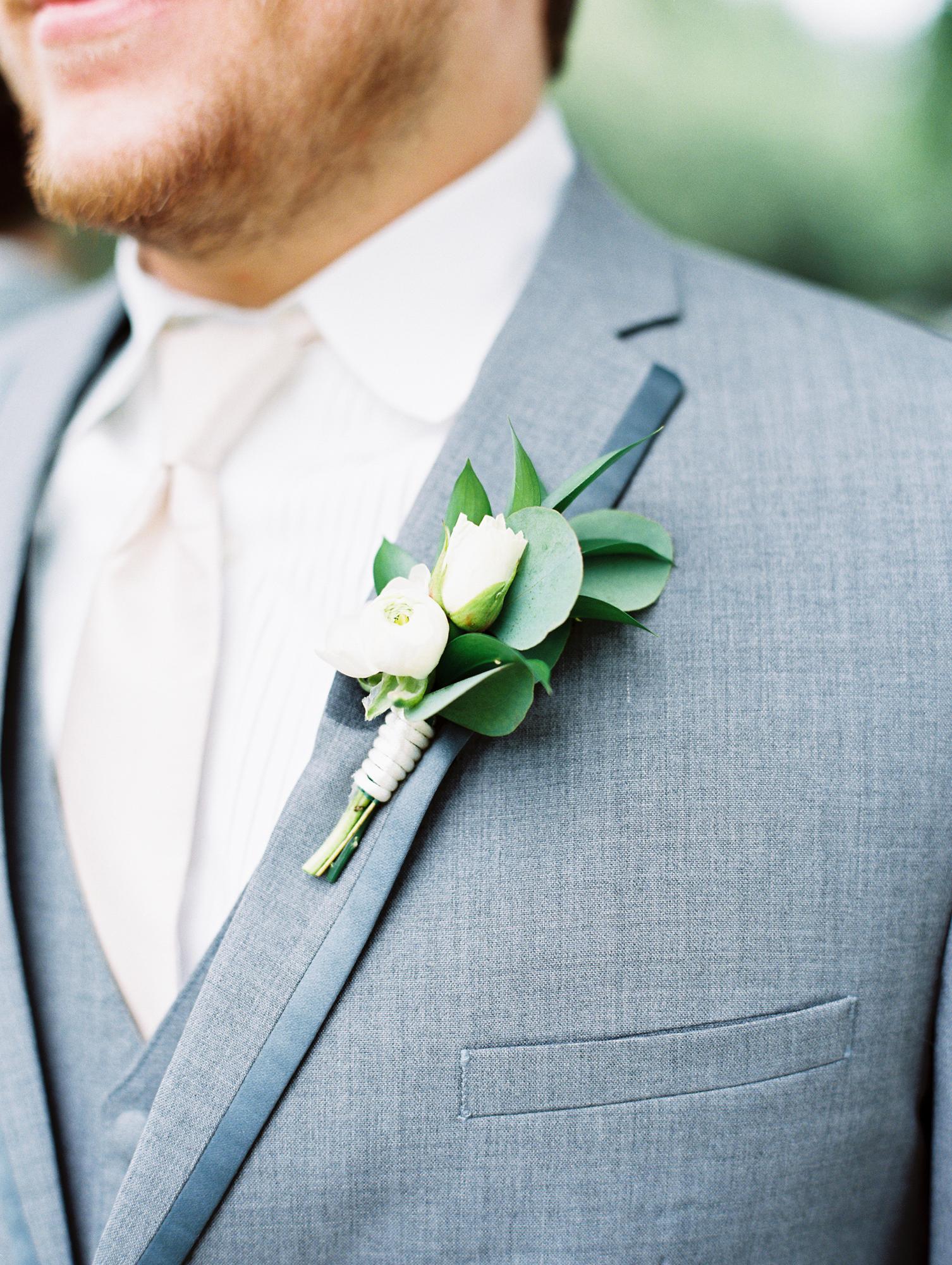 Elegant Spring Vineyard Wedding | Film Wedding Photographer | Austin Wedding Photographer | Groom Wedding Details, Gray Groom Suit | Britni Dean Photography // britnidean.com