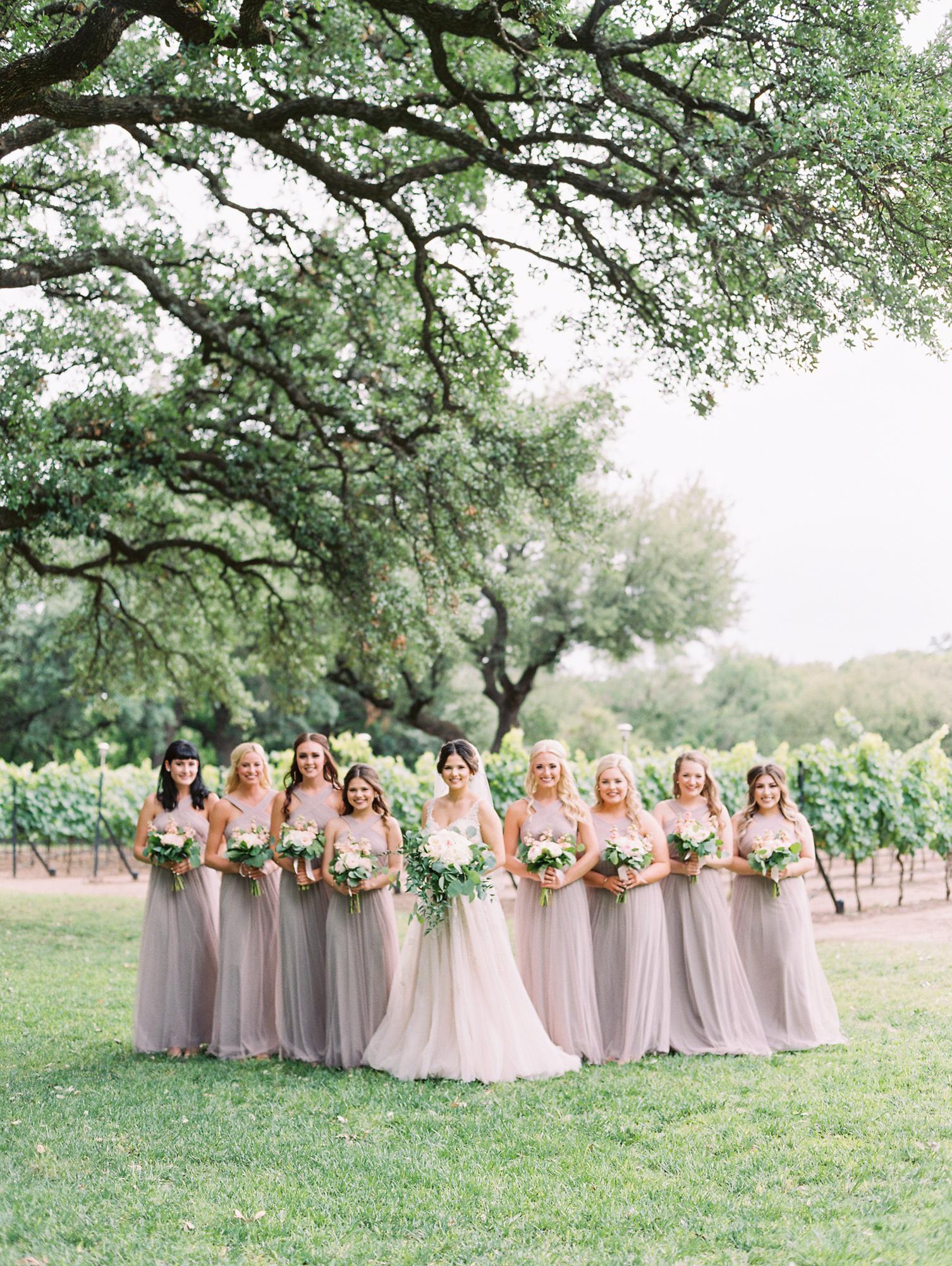 Elegant Spring Vineyard Wedding | Film Wedding Photographer | Austin Wedding Photographer | Romantic Taupe Bridesmaid Dresses, Flowy Bridal Bouquet | Britni Dean Photography // britnidean.com