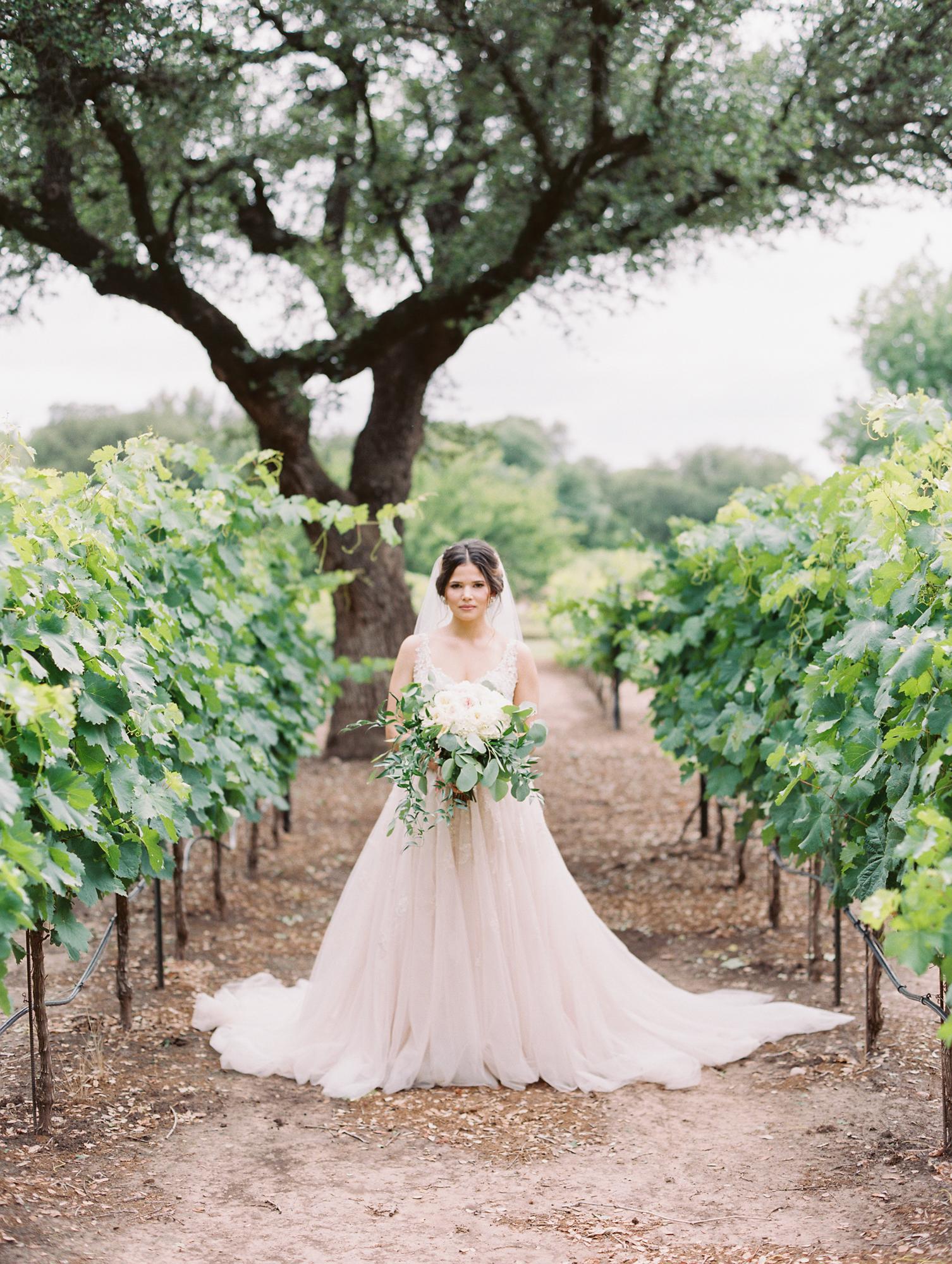 Elegant Spring Vineyard Wedding | Film Wedding Photographer | Austin Wedding Photographer | Bridal Wedding Day Portrait | Britni Dean Photography // britnidean.com