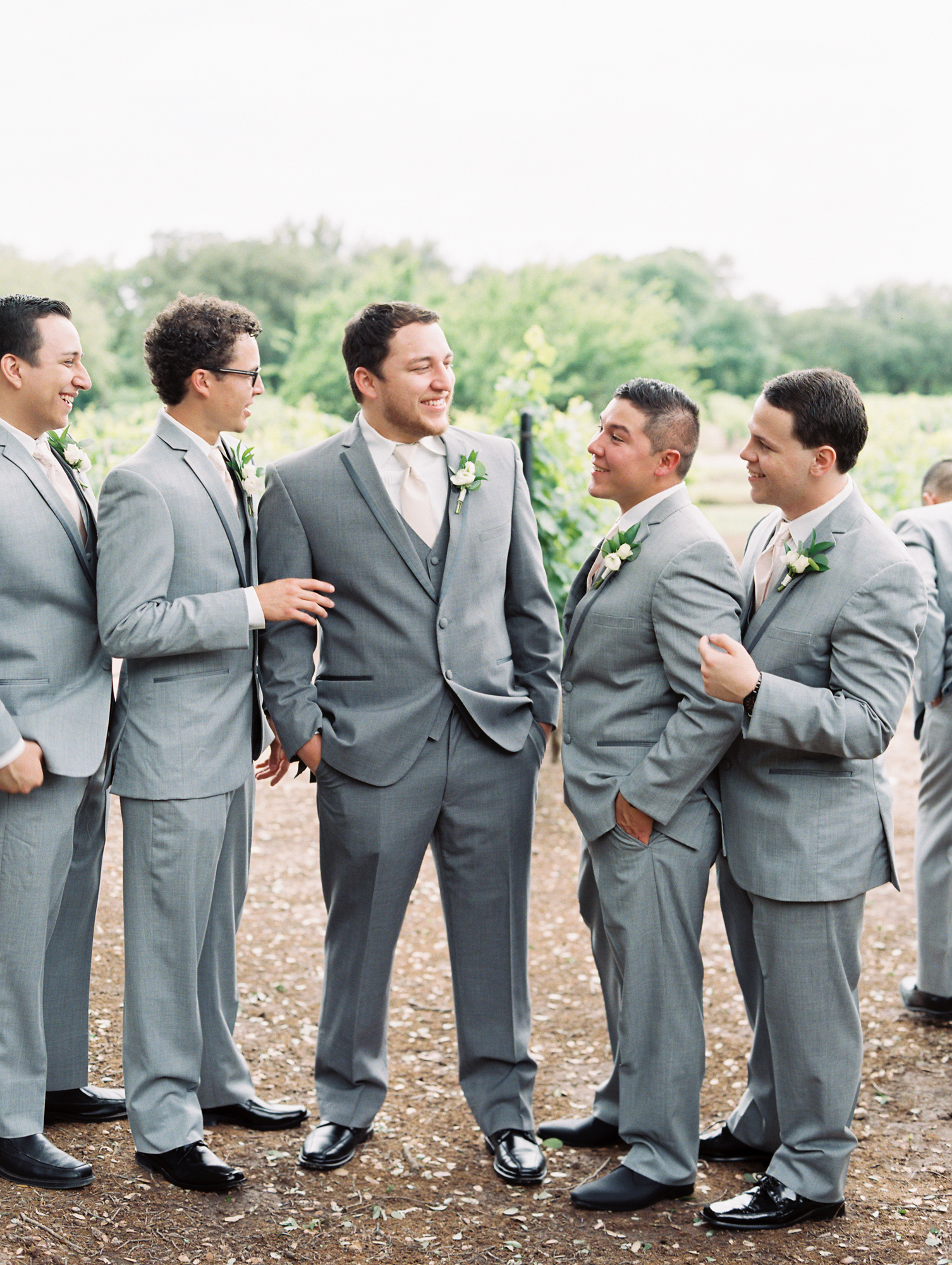 Elegant Spring Vineyard Wedding | Film Wedding Photographer | Austin Wedding Photographer | Groomsmen in Gray Suits | Britni Dean Photography // britnidean.com