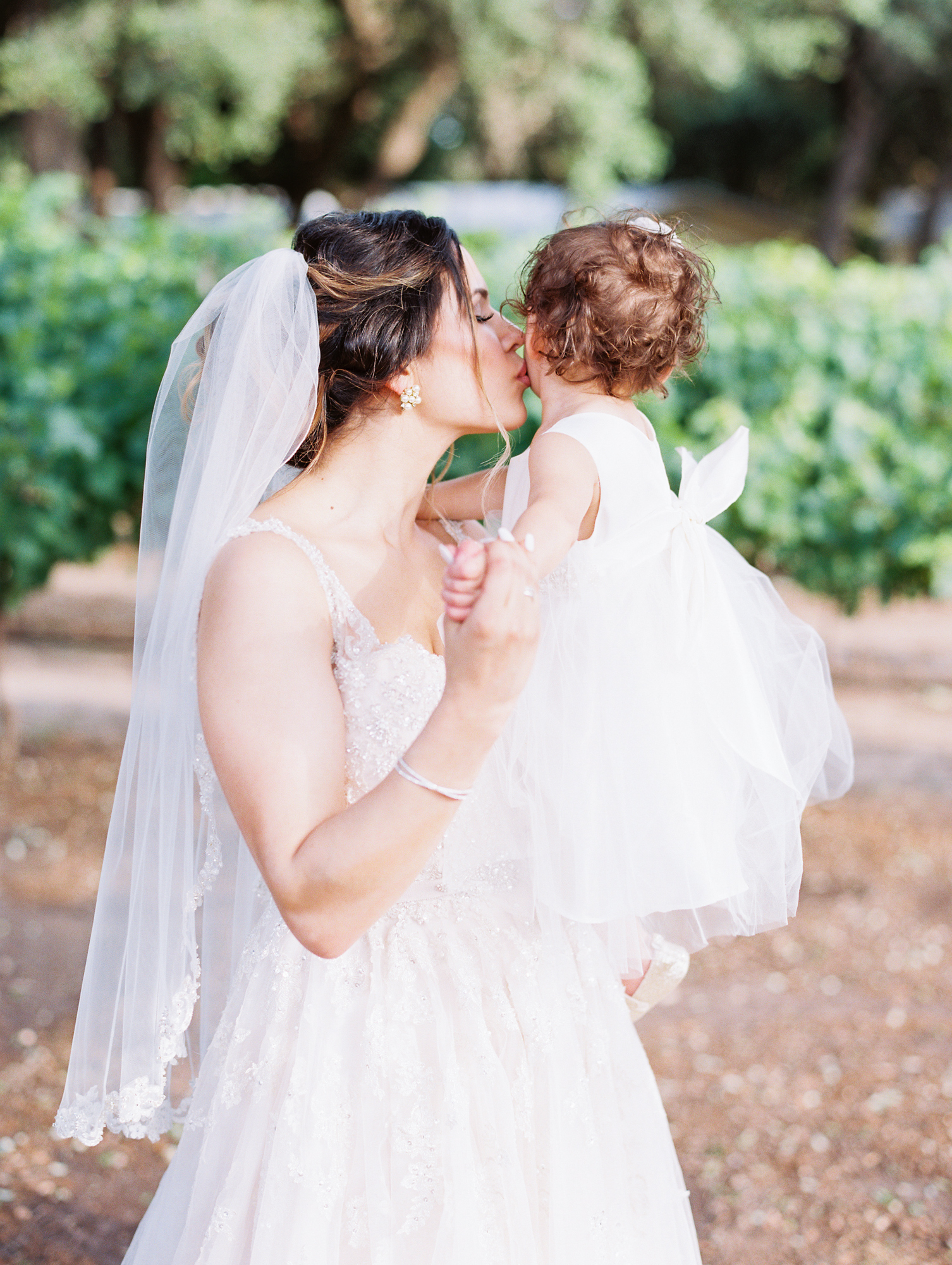 Elegant Spring Vineyard Wedding | Film Wedding Photographer | Austin Wedding Photographer | Bride and Flower Girl | Britni Dean Photography // britnidean.com