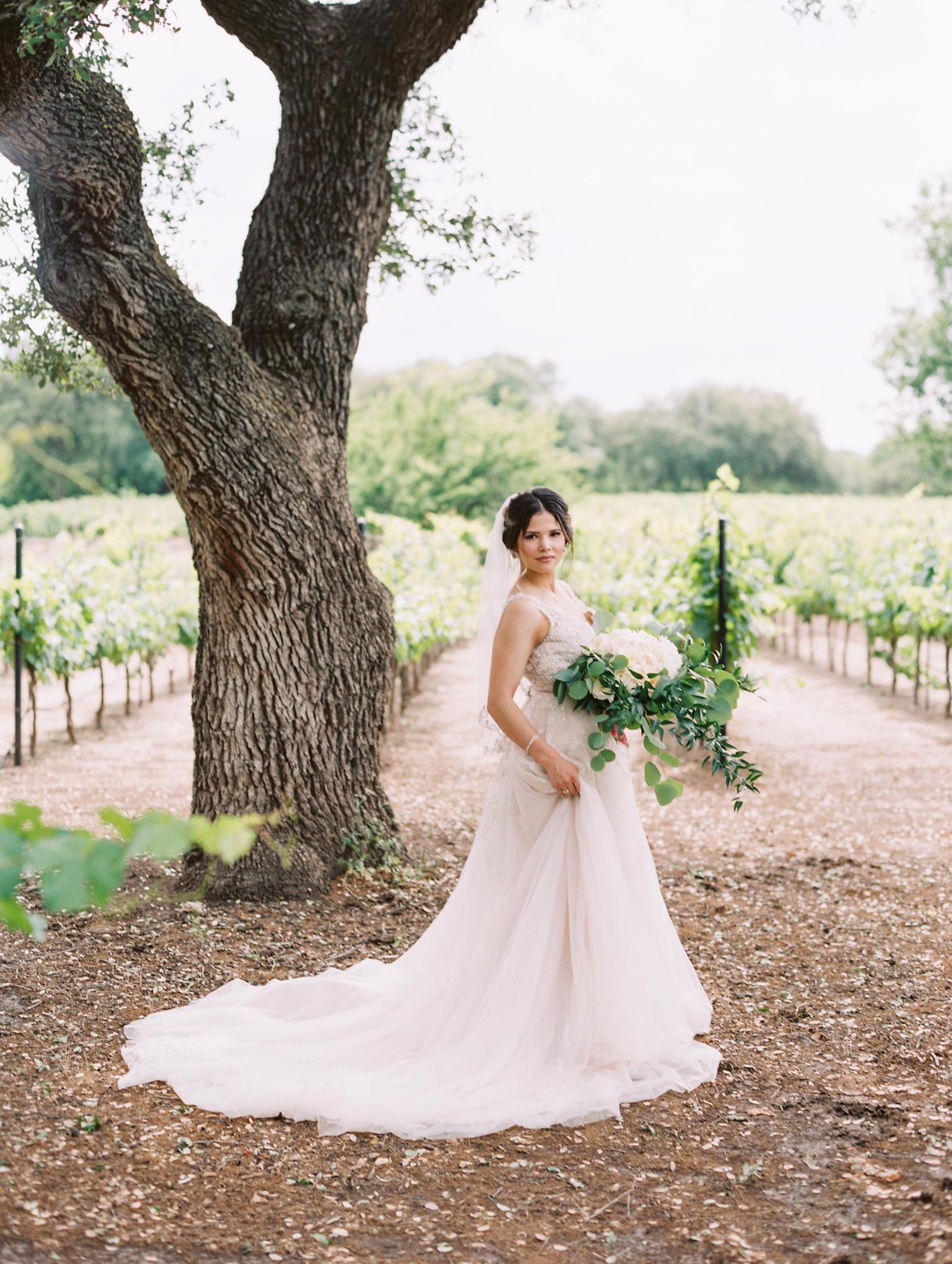 Elegant Spring Vineyard Wedding | Film Wedding Photographer | Austin Wedding Photographer | Bride's Wedding Day Portrait | Britni Dean Photography // britnidean.com