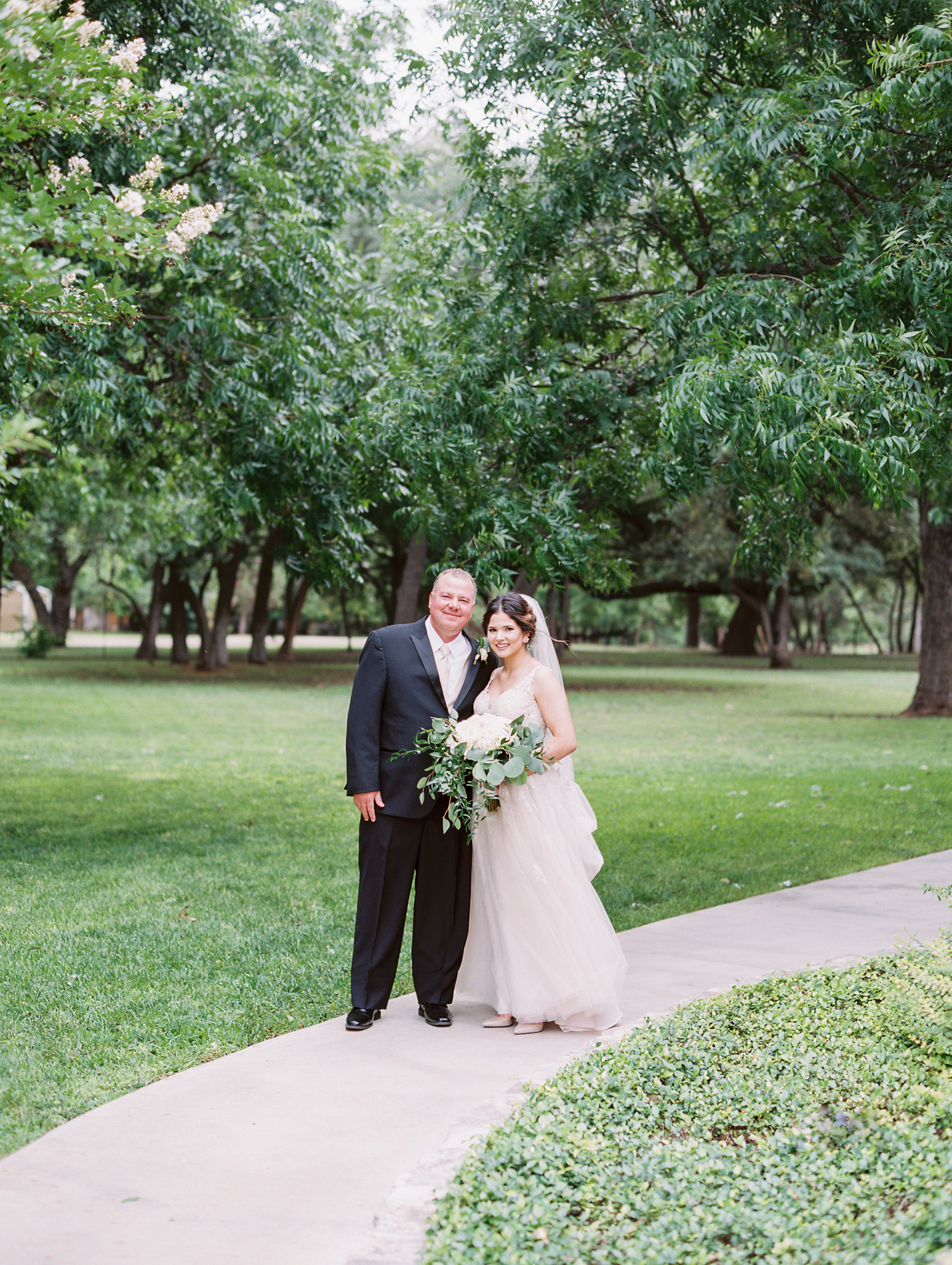 Elegant Spring Vineyard Wedding | Film Wedding Photographer | Austin Wedding Photographer | Bride and Father Sweet Moment | Britni Dean Photography // britnidean.com