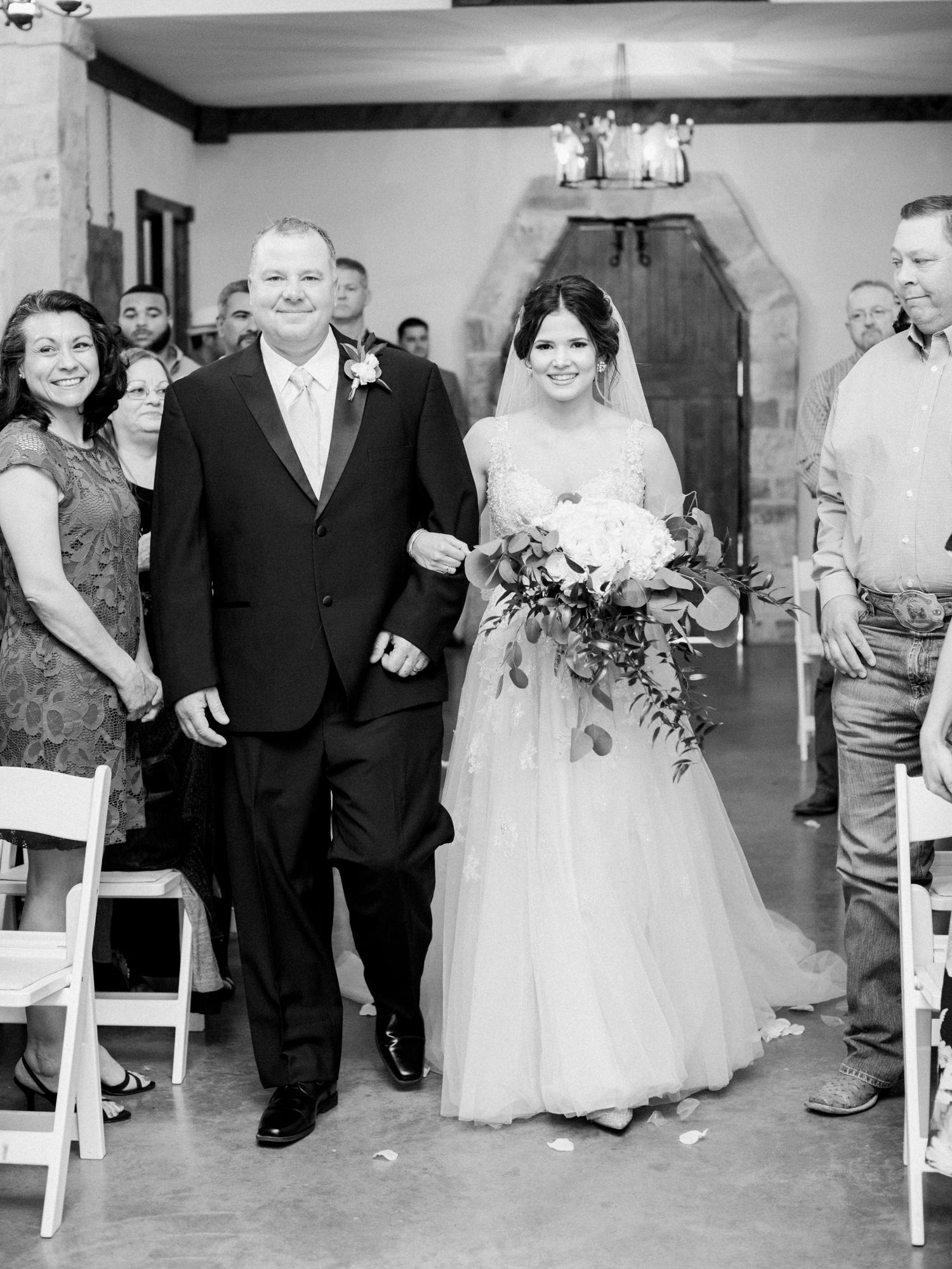 Elegant Spring Vineyard Wedding | Film Wedding Photographer | Austin Wedding Photographer | Father Walking Bride Down Aisle | Britni Dean Photography // britnidean.com