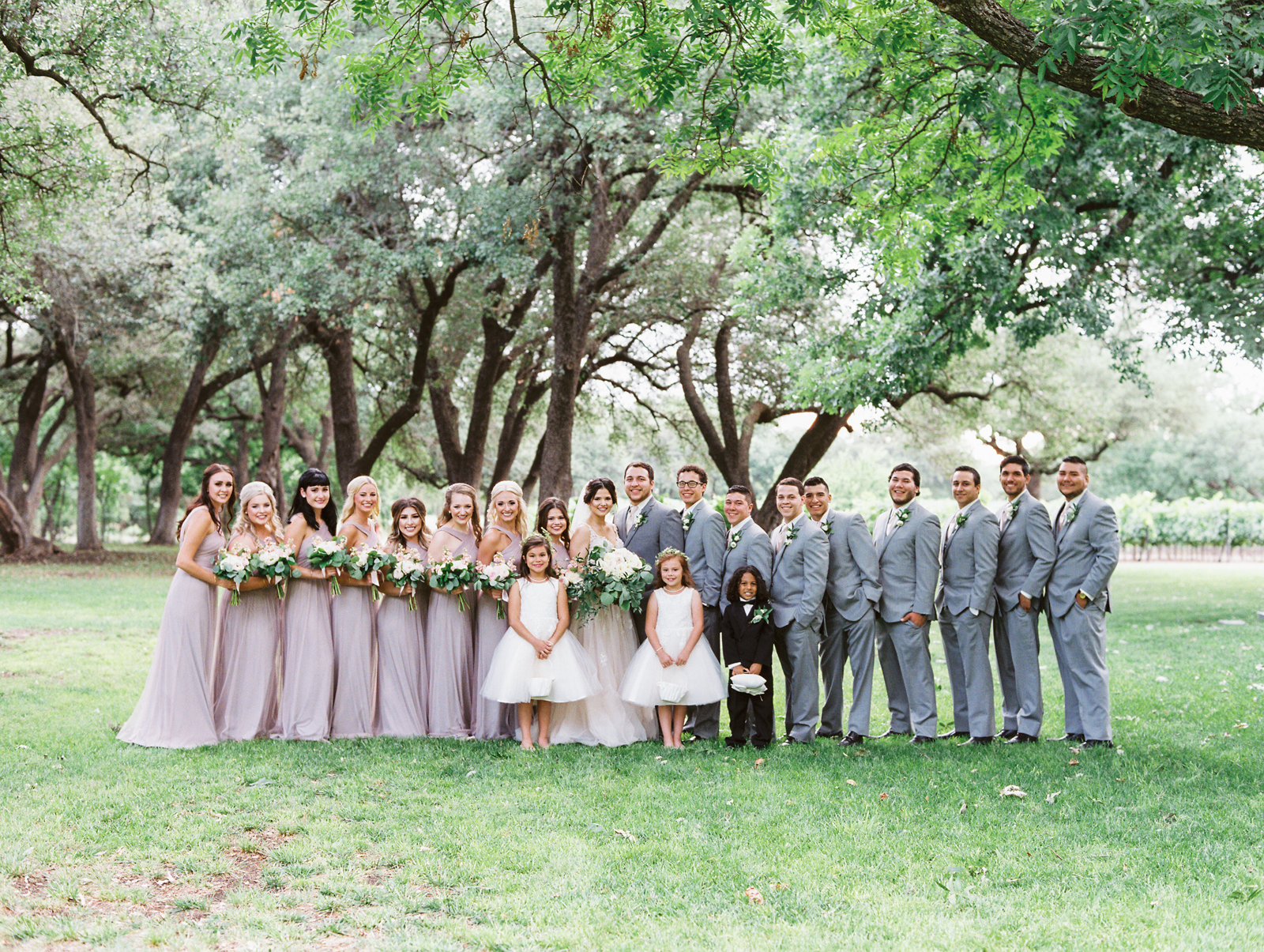 Elegant Spring Vineyard Wedding | Film Wedding Photographer | Austin Wedding Photographer | Neutral and Gray Bridal Party | Britni Dean Photography // britnidean.com