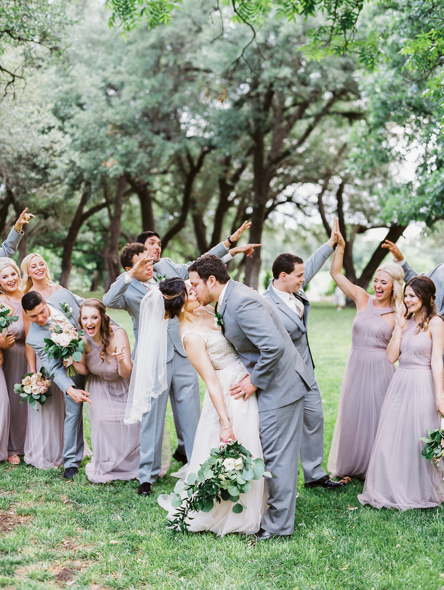Elegant Spring Vineyard Wedding | Film Wedding Photographer | Austin Wedding Photographer | Neutral and Gray Bridal Party | Britni Dean Photography // britnidean.com