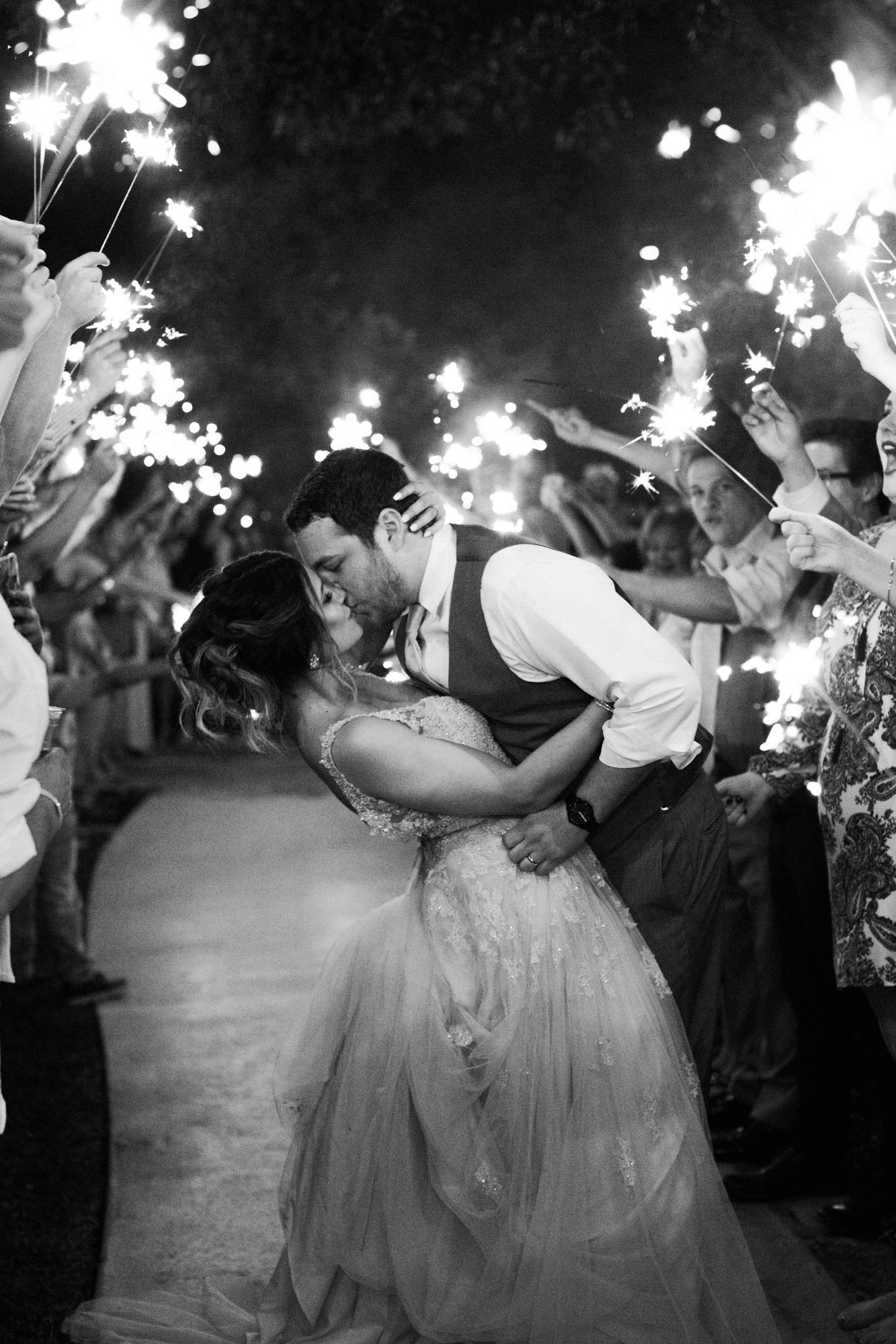 Elegant Spring Vineyard Wedding | Film Wedding Photographer | Austin Wedding Photographer | Romantic Sparkler Exit, Sparkler Exit Photography | Britni Dean Photography // britnidean.com