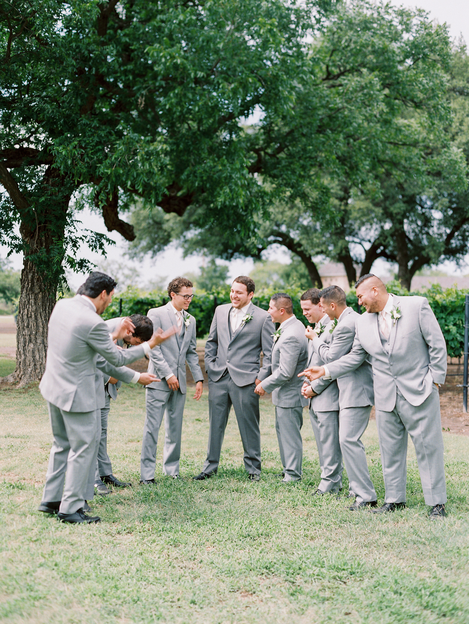 Elegant Spring Vineyard Wedding | Film Wedding Photographer | Austin Wedding Photographer | Groomsmen in Gray Suits | Britni Dean Photography // britnidean.com
