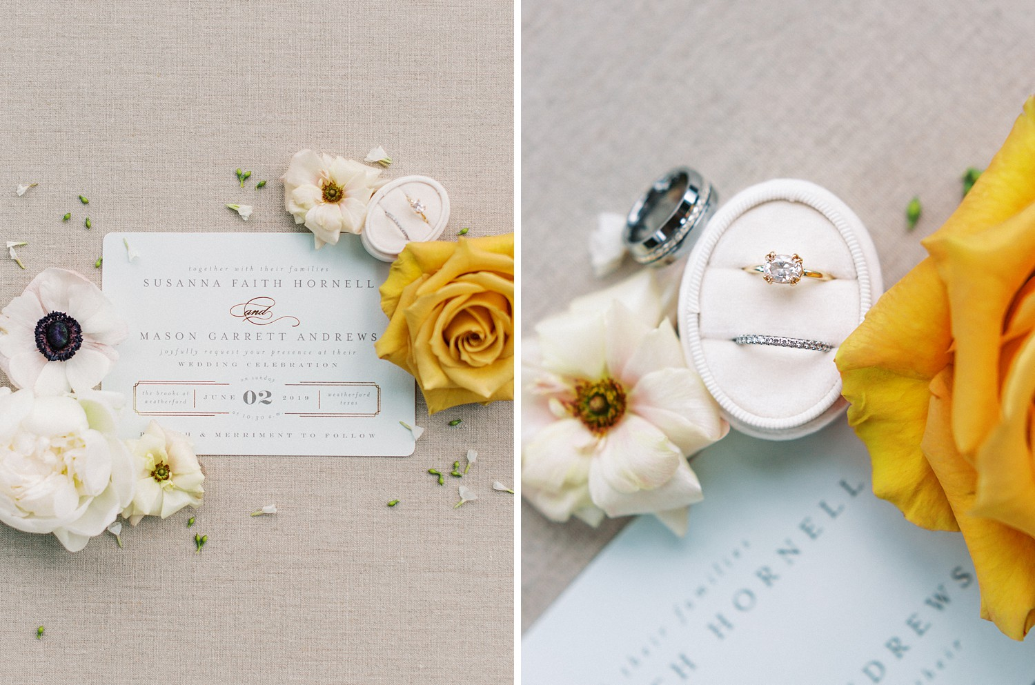 Simple Engagement Rings | Summer Wedding Inspiration | Fort Worth Wedding Photographer | The Brooks at Weatherford