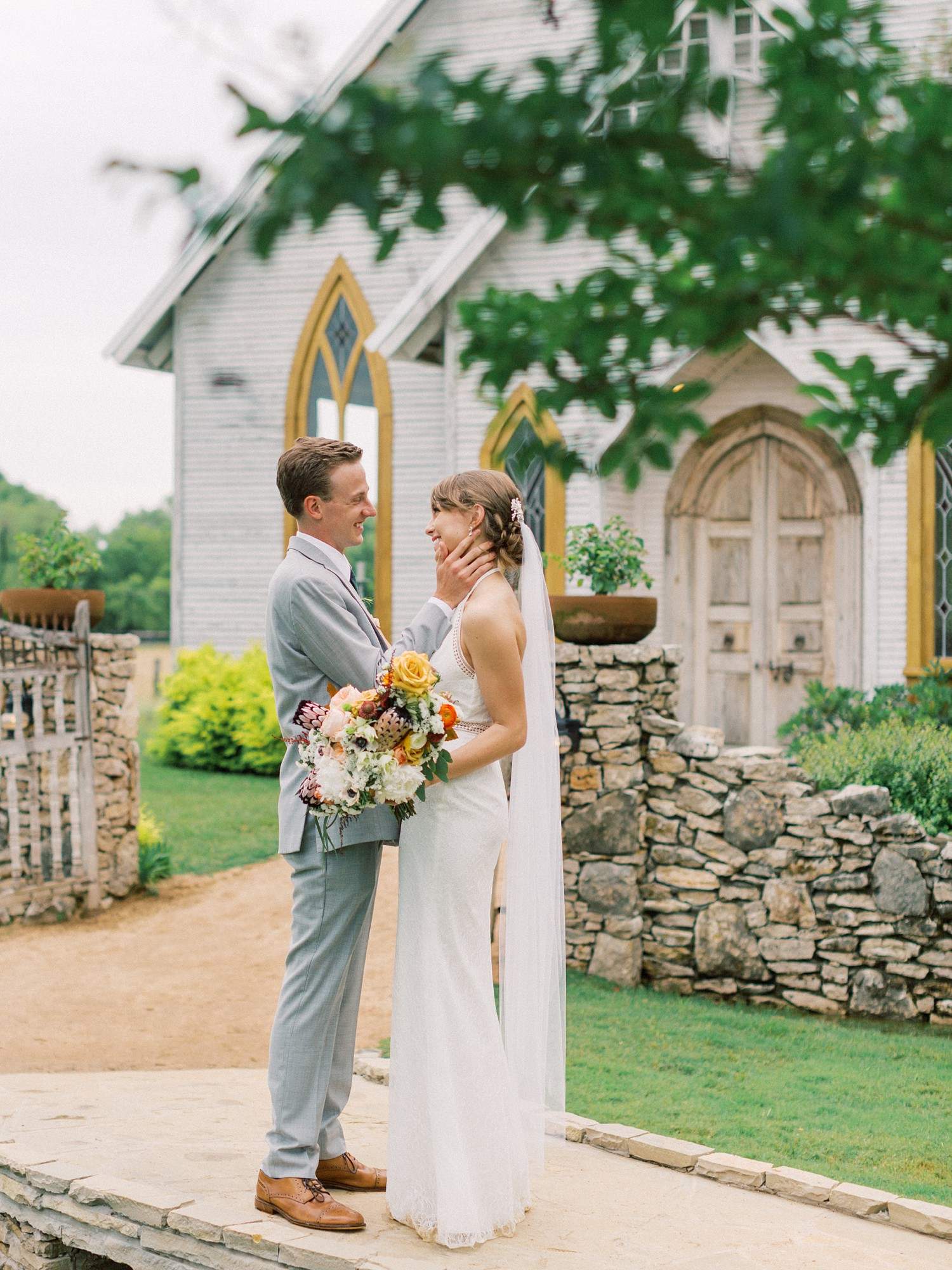 Bride & Groom Photo at Wedding Chapel | Summer Wedding Inspiration | Fort Worth Wedding Photographer | The Brooks at Weatherford