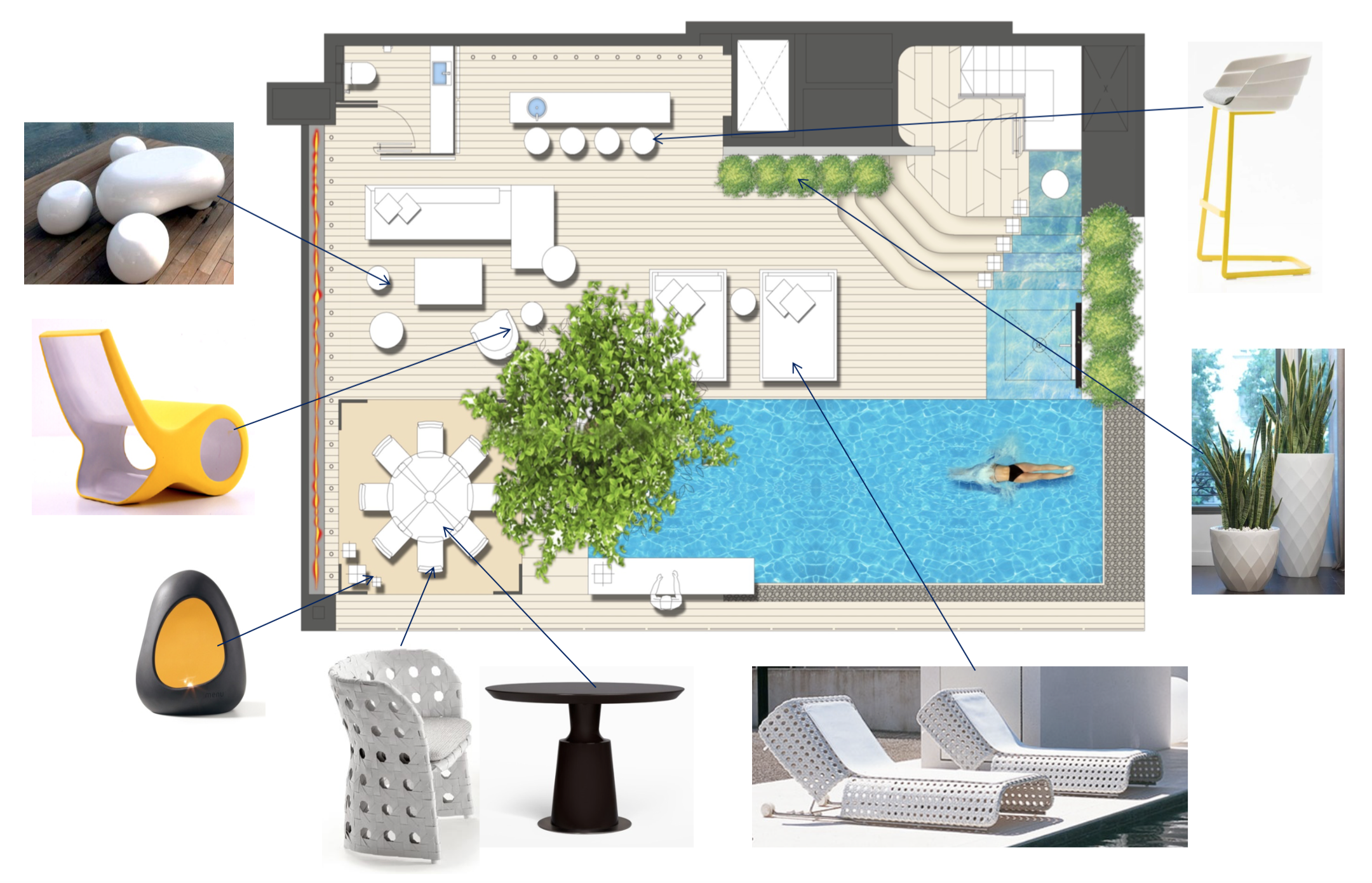 W Hotel E Wow Suite Pool Area Plan