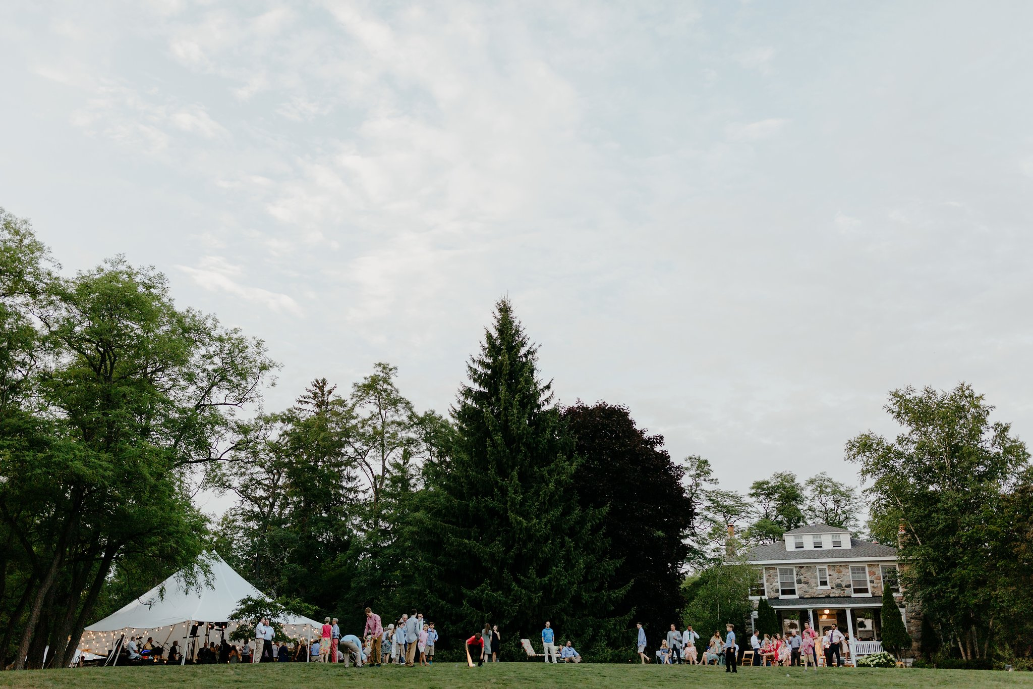 Relaxed August Wedding   Boo & Jeremy of Cincinnati, OH celebrated on August 4, 2018 with 150 family and friends. Priorities were high quality tapas food for dinner, drinks and dancing. All the children enjoyed lawn games!