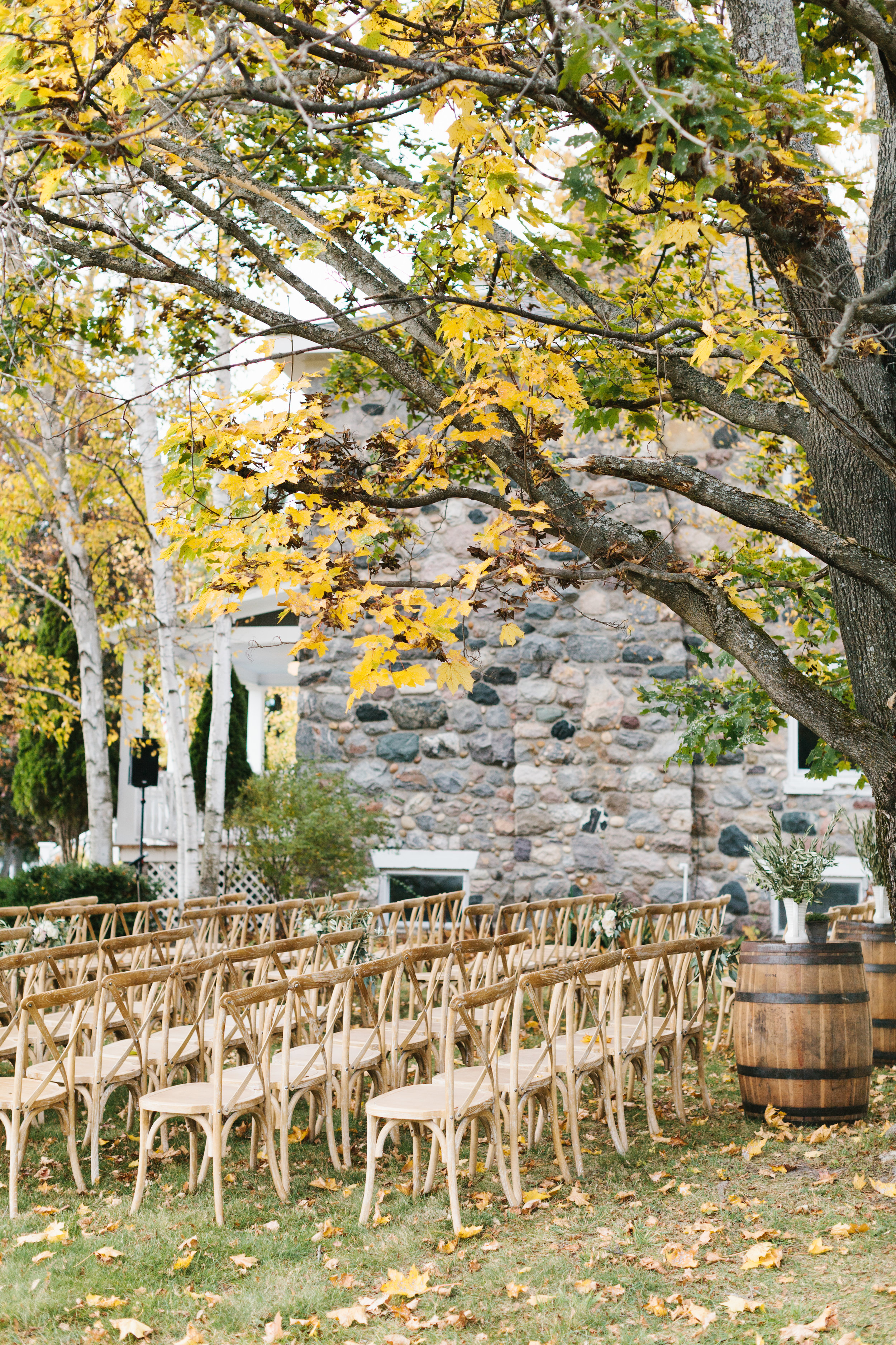 Fall Farmhouse Wedding   Melissa & Daniel of Traverse City, MI wed October 21, 2017 beneath a warm blue sky during the season's peak colors. The too good to be true weather was enjoyed by their 75 guests with a romantic, elegant and fun filled evening.