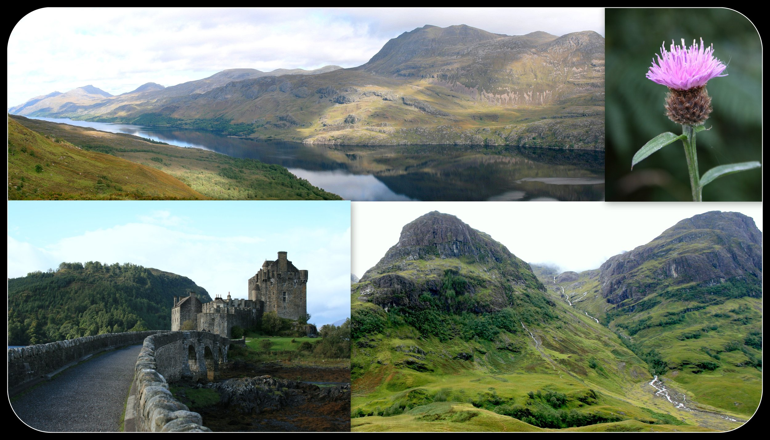 Slioch (a view from a hike up Ben Eighe), a thistle, Eilean Donan Castle, and Glencoe.