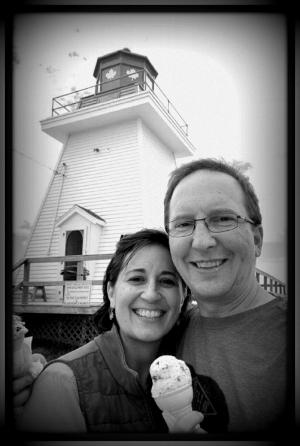 Ice cream served in a lighthouse in Nova Scotia, Canada.