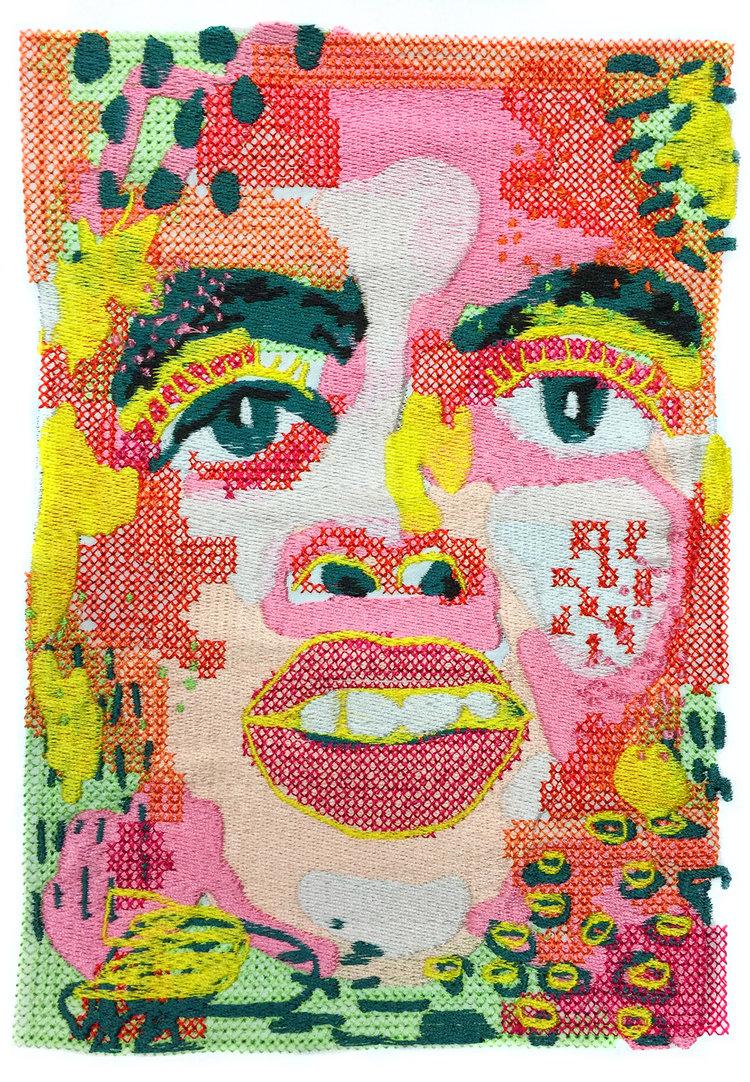 """Digitally Embroidered Self-Portrait"""