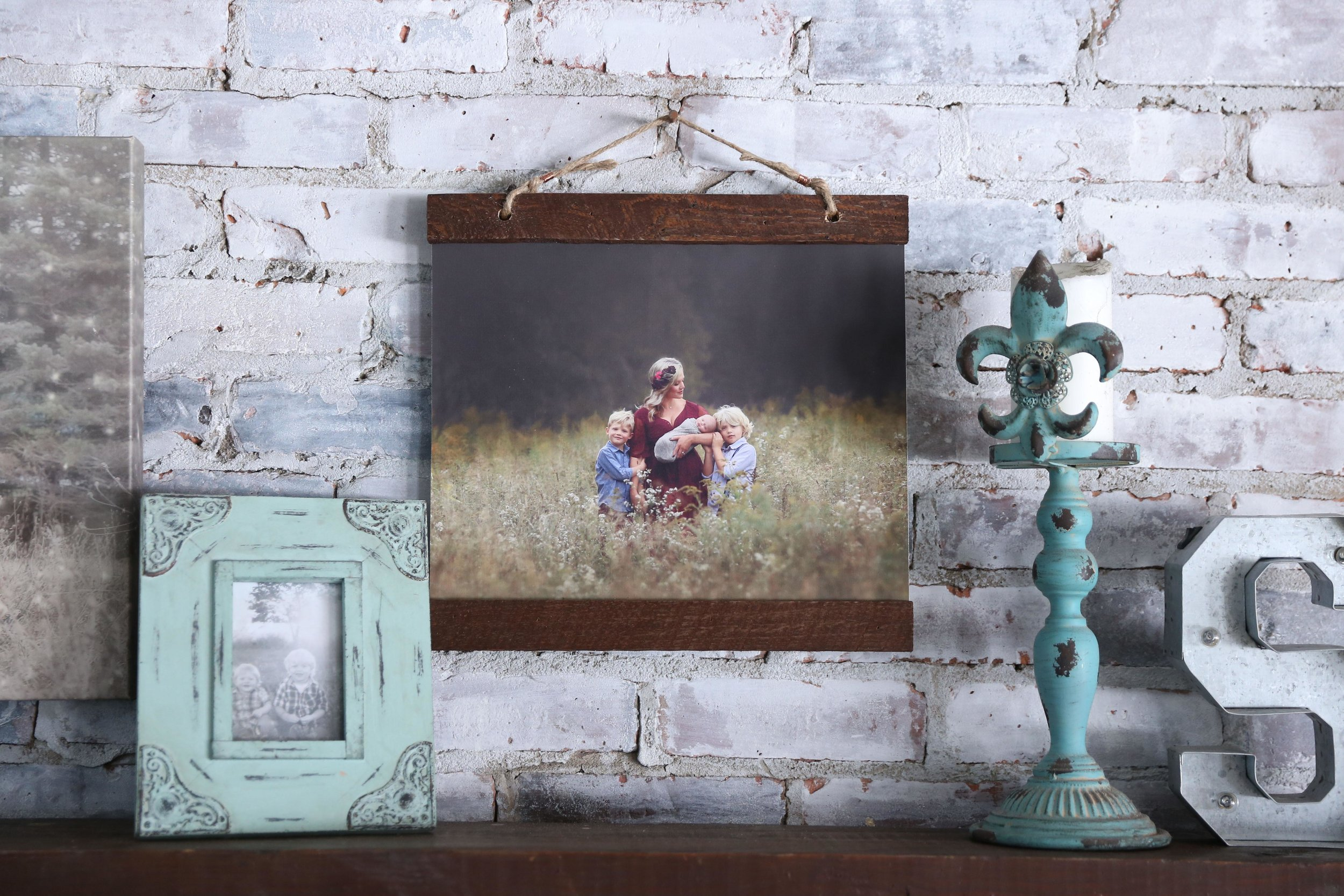 Rustic Frame - Your image printed on canvas and hung from reclaimed wood, jute, and copper.