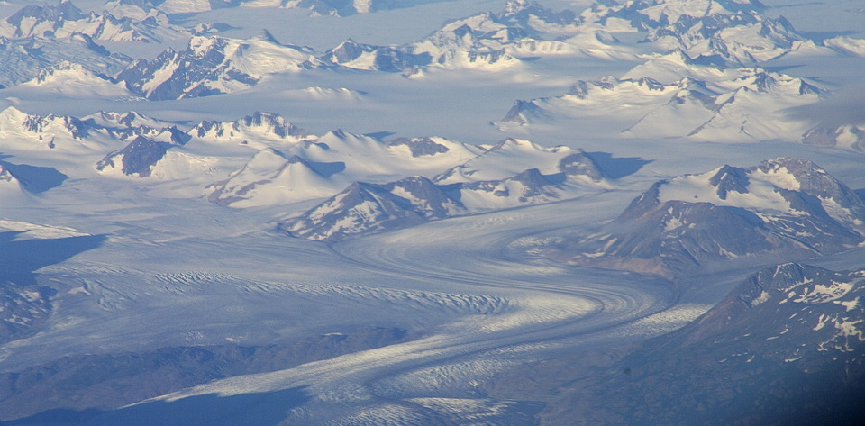 Figure 3: This is a photograph of an alpine glacier in British Columbia. While not directly analogous to the continental glacier that covered all of Ontario 2 million years ago, the image does illustrate the extensive cover of ice that is possible during a period of time when glaciers covered almost all of Canada. Photo by Andy Fyon, August 5, 2008.