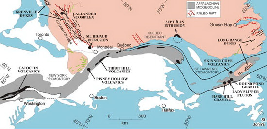 Figure 9: A cartoon reconstruction of the breakup of Roginia and the formation of the Ottawa-Bonnechere Graben (located to the right of Toronto) and other related graben zones, shown in red. Image from  Per-Gunnar Andreasson et al. (2005).