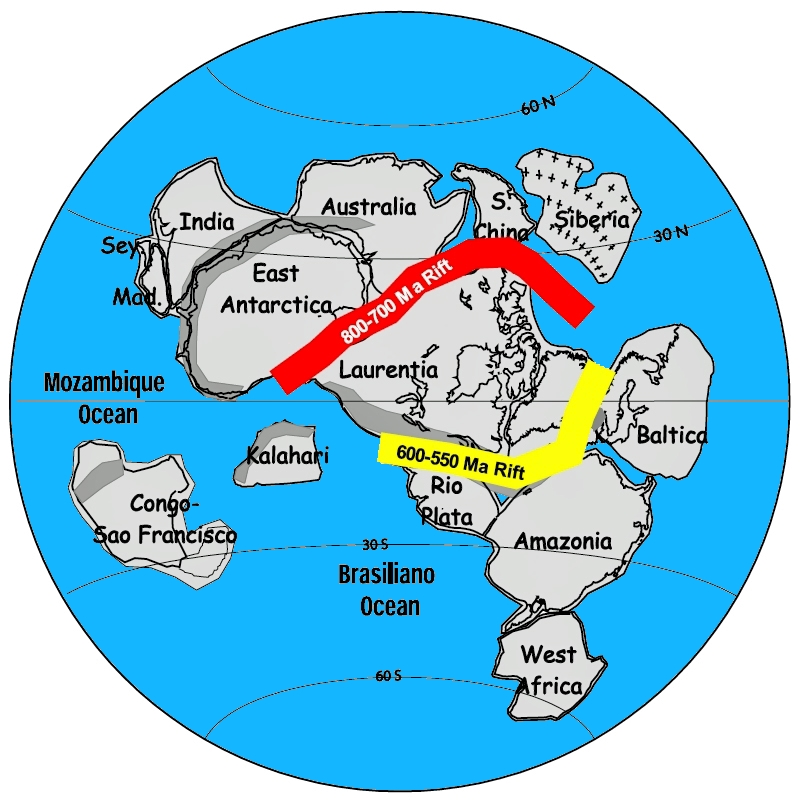 Figure 2: About 1 billion years ago, the continents of the Earth were arranged into a supercontinent called Rodinia. The red band shows where Rodinia began to break apart 800 million years ago. The yellow band shows where the remaining part of Rodinia began to break apart 600 million years ago. The breakup of Rodinia was also responsible for the creation of the Ottawa - Bonnechere Graben.