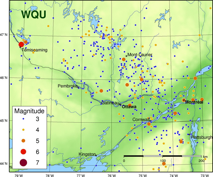 Figure 8:The image shows the location and magnitude of historic earthquakes in the area that includes the Ottawa - Bonnechere Graben. Between Ottawa and Pembroke, there are several very small earthquakes along the Ottawa - Bonnechere Graben. This suggests that the graben is not very active today. The main zone of earthquakes occurs in a northwesterly zone that starts near Plattsburg and runs towards Mount Laurier and Maniwaki (Quebec). Geologists do not absolutely understand the cause of these earthquakes. Image from:  Earthquakes Canada .