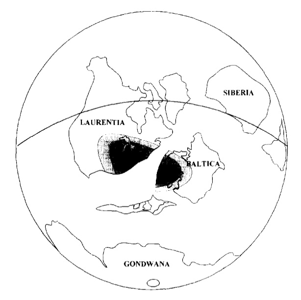Figure 8: The approximate location of the continents about 450 million years ago is illustrated in this image. The black and grey coloured areas represent the distribution of the weathered volcanic ash beds in eastern North American and western Europe.This image gives us an indication of the explosive volcanic eruptions that were responsible for the ash beds. Note that the size, shape and location of the continents at this time, 450 million years ago, is different from today because of the geological process of continental drift.Image from  Kyoungwon, Renne, and Huff .