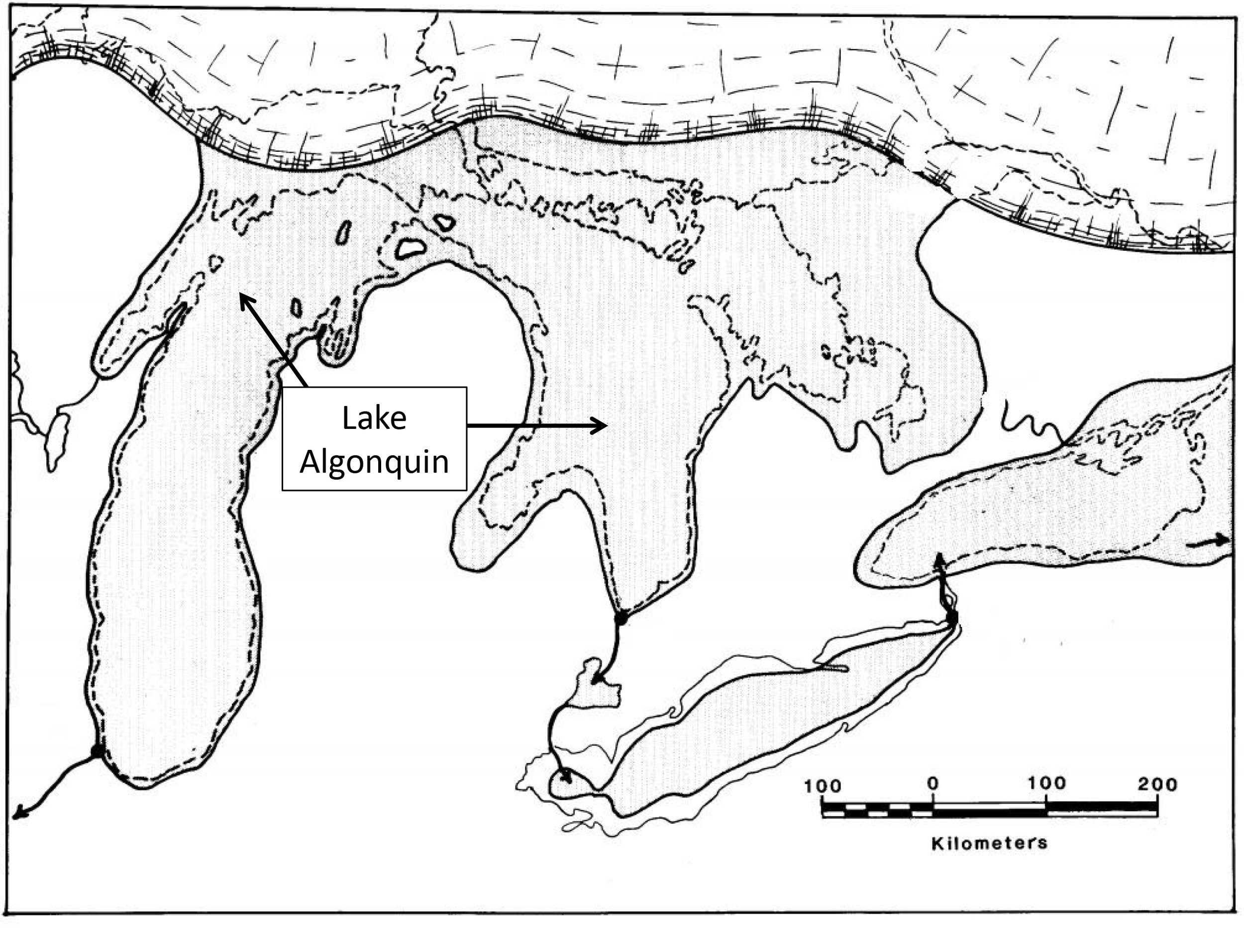 Figure 3: The approximate distribution of Lake Algonquin, from  Curtis Larsen (1987): Geological History of Glacial Lake Algonquin and the Upper Great Lakes, U.S. Geological Survey Bulletin 1801, 39p.