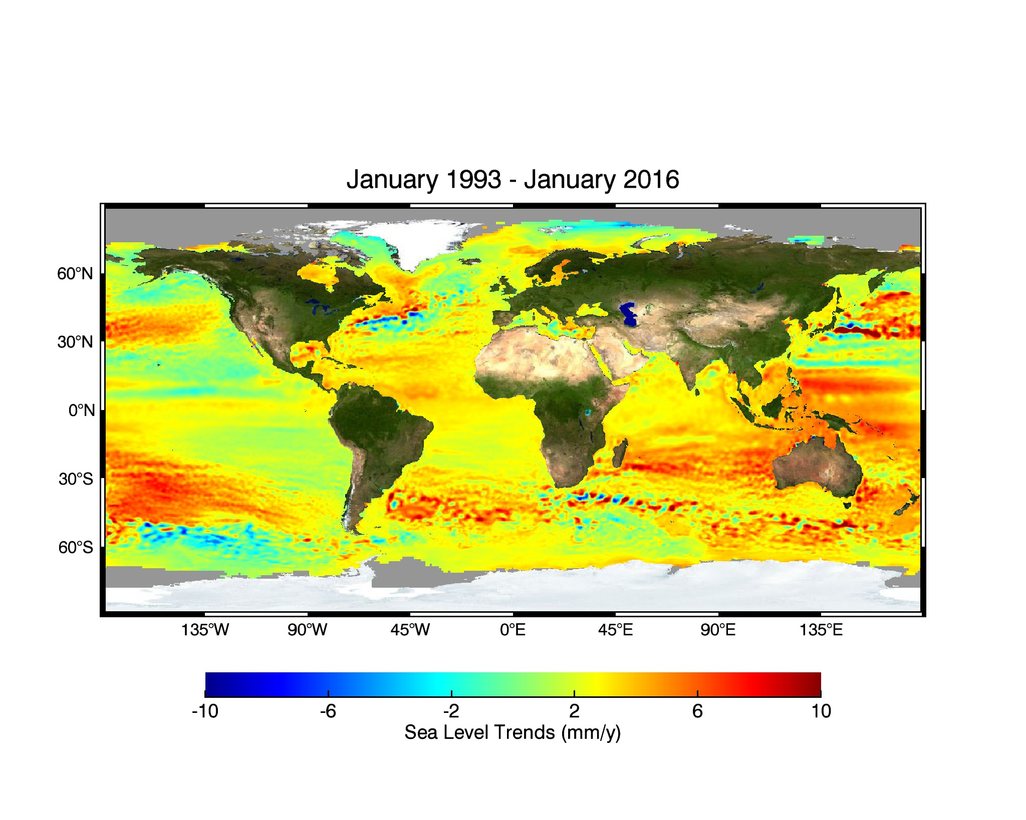 Figure 3: This image shows the surface height of the oceans. This image shows the 20 year trend of rising surfaces across the Earth from 1993 to 2016. The hot red coloured areas show regions where the sea surface has risen up to 10 mm per year. The cold blue areas show regions where the sea surface has dropped up to 10 mm per year. The surface height of the ocean is not the same everywhere. Image source:  Global Mean Sea Level by NASA .