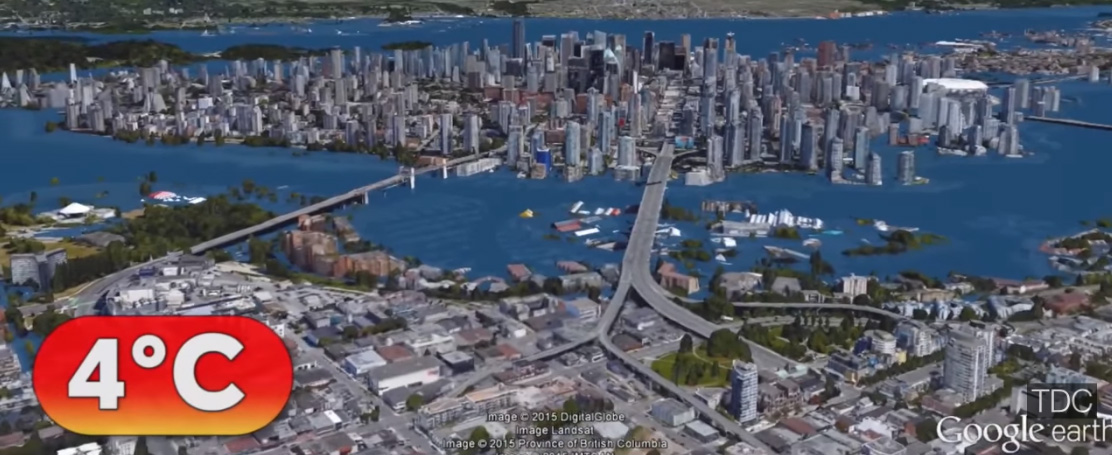 Figure 1: A cartoon that shows the possible extent of ocean flooding affecting the City of Vancouver, based on some assumptions, including a global climate temperature rise of 4C. This image comes from the video:  The World After Sea-level Rise .