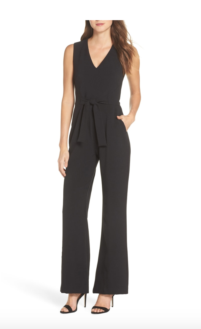 Tie Waist Crepe Jumpsuit  - A rarity for us short gals, this Vince Camuto jumpsuit comes in a petite, which is great and can be dressed up for a wedding or party or dressed down for a dinner date. Basically the modern version of the LBD!BUY HERE