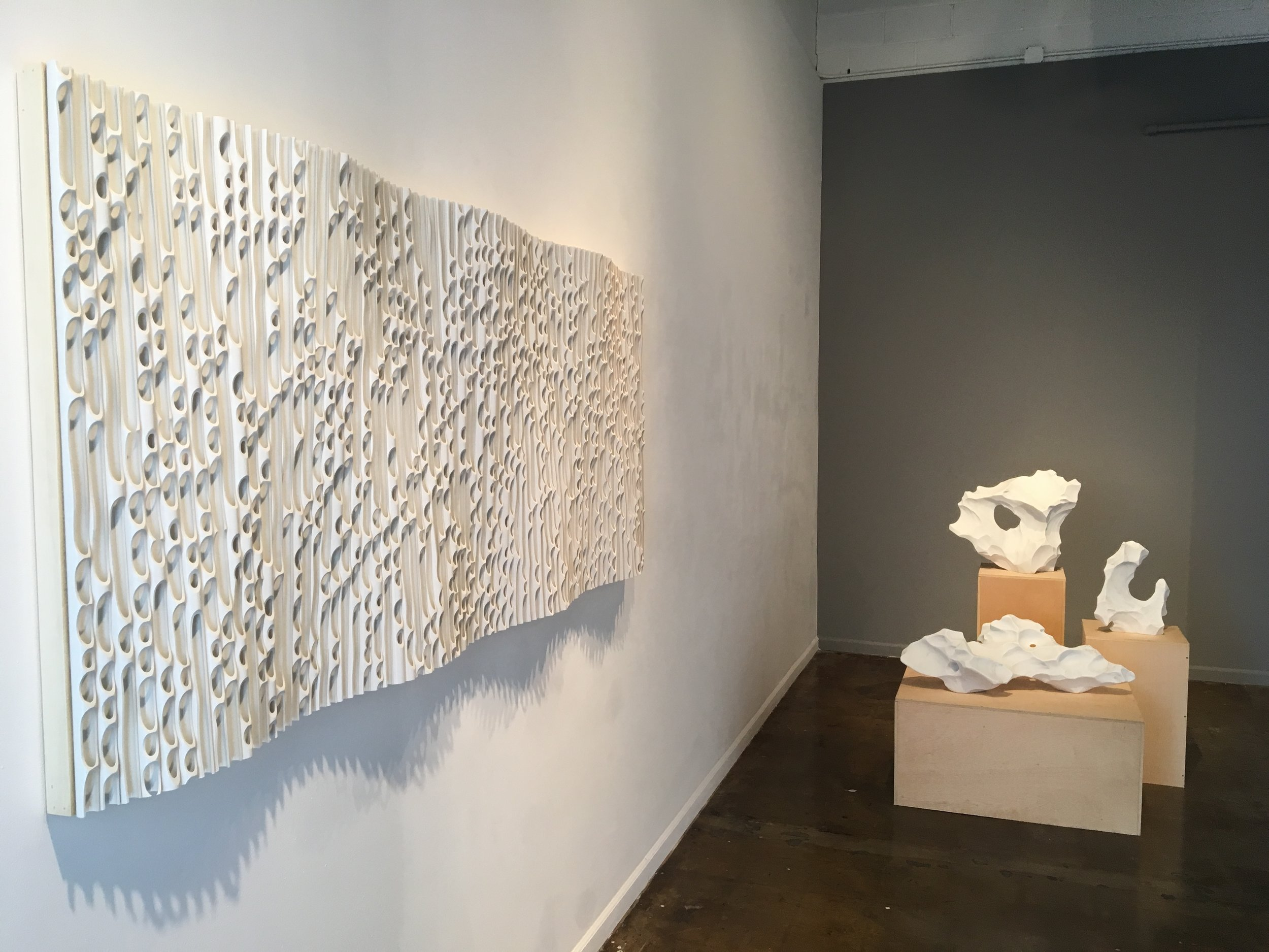 A new piece from the Wave series and the latest marble sculptures from the Immutable Ice series.