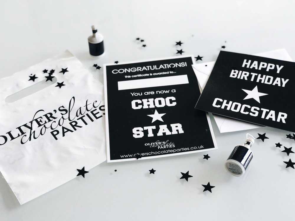 Your party includes... - All our packages come with party bags to fill with their own handmade chocolate creations. Your little chocolatiers will also receive their very own Certificate to congratulate them on becoming a CHOC STAR as well as the lucky Birthday boy or girl getting a special birthday card from us.