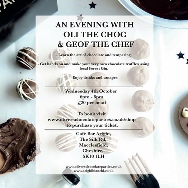 We have some GOOD NEWS for all the foodies out there..... 😉 - If you didn't manage to book your tickets for a glorious evening at Cafe Bar Arighi this Wednesday before they sold out.. - We have good news for you, we have managed to conjure up a limited number of tickets so please message us via Facebook to register your interest or email; - info@olichocparty.co.uk - #events #cheshire #macclesfield #chocolate #olithechoc #geoffhechef